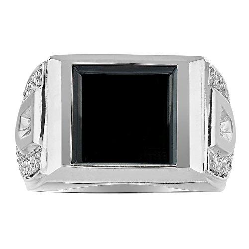 Para hombre anillo de Onyx y diamantes 14K oro amarillo