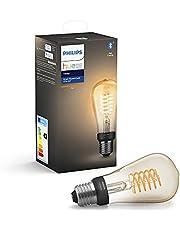 Philips Hue White ljuskälla E27, filament, LED 7W, ST64, 550 lumen, Zigbee & Bluetooth, varmvitt ljus 2100 Kelvin, livslängd 15000 timmar, kompatibel med Amazon Alexa (Echo Dot), Google Home Assistant (Google Mini, Google Home) och Siri (Apple Homepod)