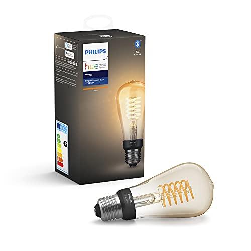Philips Hue Bombilla Inteligente LED B22, con Bluetooth, Filamento A60, Luz Blanca Cálida, Posibilidad de Control por Voz