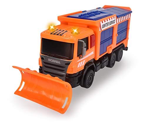 Dickie Toys Scania Schneepflug, Räumfahrzeug, LKW mit Salzbehälter, Salzstreuer, Winterdienst, bewegliche & abnehmbare Schaufel, Kabine aus Metall, Licht & Sound, inkl. Batterien, 19 cm, ab 3 Jahren