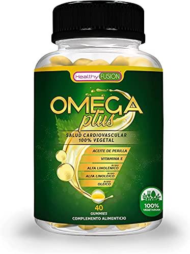 OMEGA Plus | Aceite de Perilla, Vitamina E y ácidos grasos Omega 3-6-9 | Producto apto para vegetariano | Procedencia vegetal | Máxima calidad de Omega disponible | 40 gummies sabor sandía