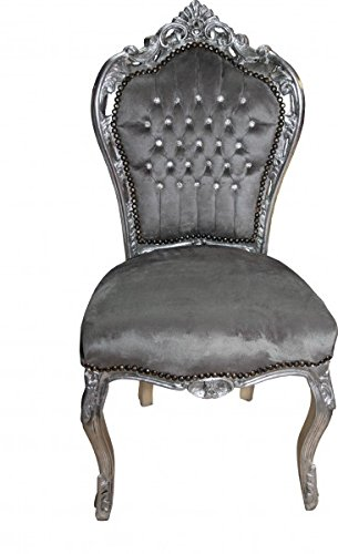 Casa Padrino Barock Esszimmer Stuhl Grau/Silber mit Bling Bling Glitzersteinen - Antik Stil