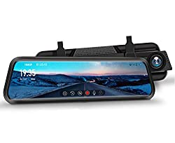 "DuDuBell Dash Cam with 10"" Mirror Dash Cam and Reverse Assistance Backup Camera."