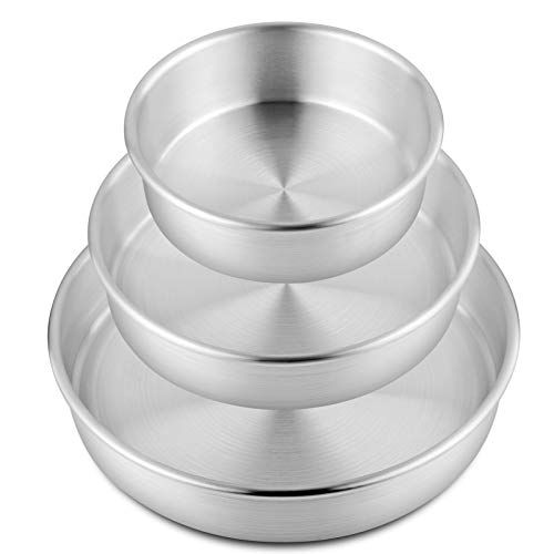 TOP KITCHEN Aluminum Cake Pan Set for Baking, Natural Baking Pan Round set, Party Cake Pan silver, Round Deep Pizza Pan Straight Sided, 3-Piece set consists of 6-Inch 8-Inch 10-Inch