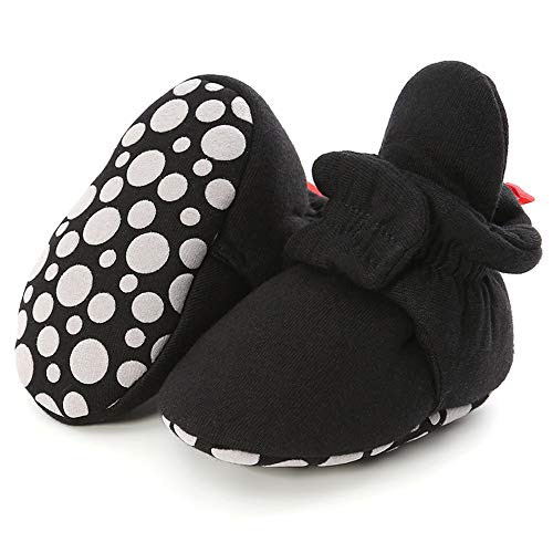 LAFEGEN Infant Baby Boys Girls Slipper Stay On Non Slip Soft Sole Newborn Booties Toddler First Walker Crib House Shoes 0-18 Months, 01 Khaki, Baby Slipper 0-6 Months Infant