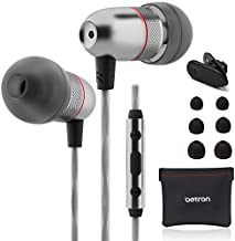 Betron ELR50 Earbuds, in Ear Headphones with Mic and Remote Control, Noise Isolating Earphones, Bass Driven Sound, Premium Audio Quality, Compatible with iPhone and Android Devices, Black