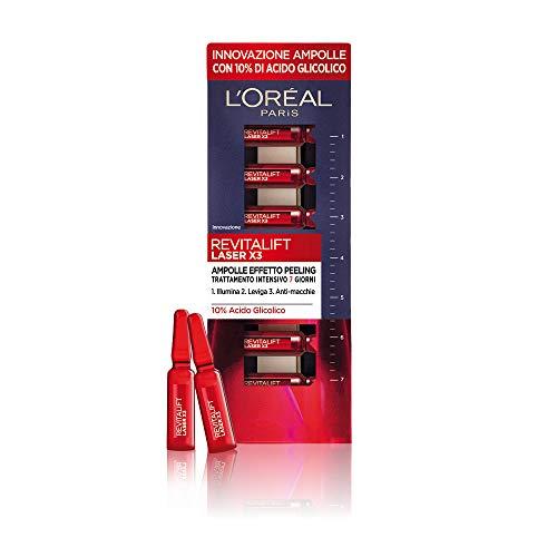 L'Oréal Paris Trattamenti Ampolle Revitalift Laser X3, Arricchite di Acido Glicolico Puro e Concentrato al 10%, per un Effetto Pelle Nuova, 7x1 ml, Confezione da 1