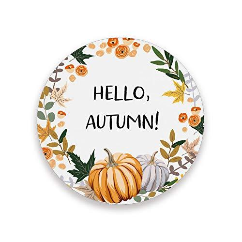 CHEHONG Posavasos absorbentes para bebidas, diseño de Hello Autumn Wreath naranja calabaza hojas de octubre de cerámica base de corcho taza de café, decoración del hogar, oficina, tazas de cristal, mesa de comedor de 1 2 4, Cerámica + base de corcho., Color, 2 unidades