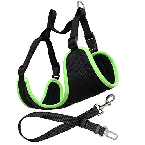 YATEK Arnés con cinturón de Coche para Perros Ajustable, Apto para la mayoría de vehículos, Material Resistente, Talla L