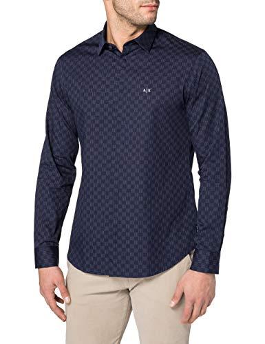 ARMANI EXCHANGE Cotton Dobby Navy Lines&Dots Shirt Camicia, XL Uomo