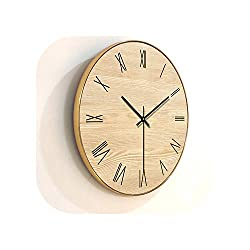Wall Clock Living Room Decoration Wooden Wall Clocks Quartz Watch Home Decor Silent,Type A with Frame,16 Inch