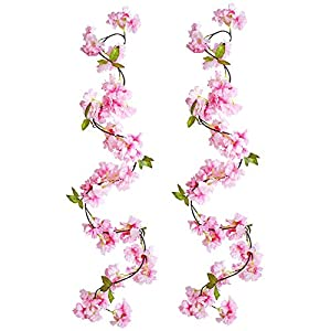 JUDYME 2 PCS Artificial Cherry Blossom Silk Flower Vines Hanging Vine Silk Garland for Wedding Party Home Garden Wall Decoration (Pink)