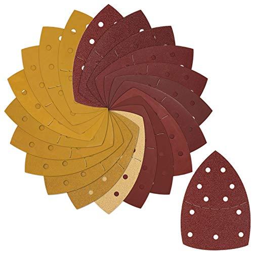 Telgoner Dreieckschleifer Schleifpapier, 80 Stück Schleifblätter mit Klettverschluss für Bosch Deltaschleifer/Multischleifer, je 10 x 40 60 80 120 180 240 Körnung, 5 x 320 400 600 800 Körnung 11 Loch