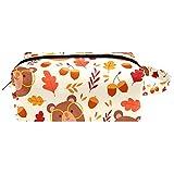Bolsa de cosméticos de piel con diseño de hojas de oso otoñal con asa, bolsa de viaje cuadrada impermeable, estuche de lápices pequeño para mujeres, hombres y niñas