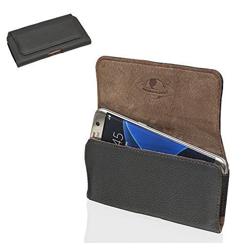 Smart-Planet® Hochwertige Smartphone Gürteltasche Echt Leder Quertasche 2XL - Handy Tasche - 14,2 x 7,1 x 1 cm - Handyhülle - Etui - schwarz