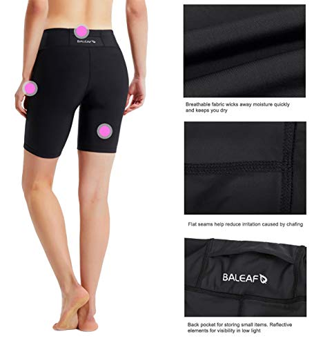 BALEAF Women's 7 Inches Active Fitness Yoga Running Shorts Pocket Black Size S