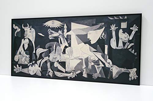 GUERNICA CUADRO ENMARCADO -Montado en tablero Adhesivo rígido y ligero profesional de 1cm - Enmarcado en moldura de aluminio color NEGRO Mate de 1,5cm de perfil - Laminado en Mate. (60x130cm)
