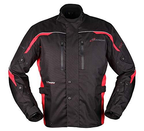 Motowear Motorradjacke P2 Textil - wasserdicht (Schwarz/Rot, l)