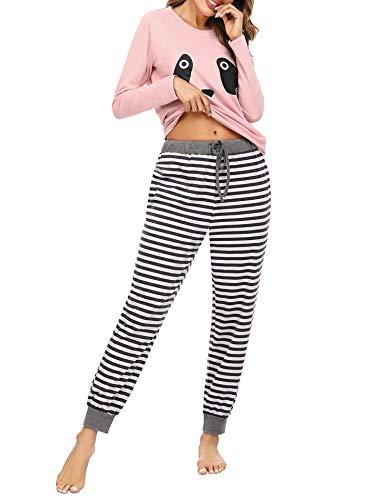 Irevial Ensemble de Pyjamas Femme Coton Vêtement de Nuit Haut de Pyjama Femme de Motif Panda à Manche Longue Bas de Pyjama Femme avec Poche, XXL, Gris et Rose
