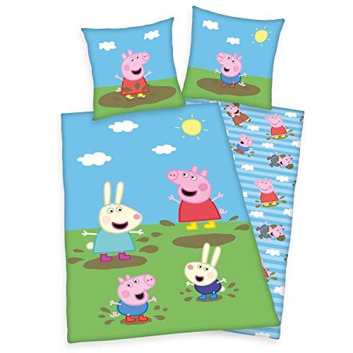 Peppa Pig Wutz George Wende Bettwäsche-Set 135/200 + 80/80 cm