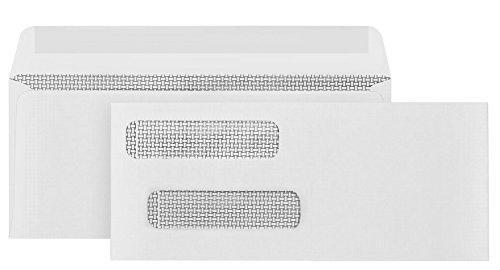 500 Gummed Double Window Security Check Envelopes - Designed for QuickBooks Checks - Computer Printed Checks - Gummed Flap - 3 5/8 X 8 11/16