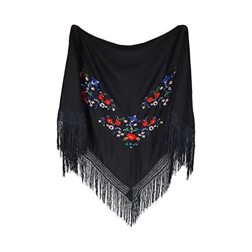 MUNDDY® - Mantón Bordado en Flores Para Adulto. Mantones Flamenco Sevillana.Color Rojo Negro Rosa Blanco Amarillo Azul. Envio desde madrid con seguimiento. (Negro)