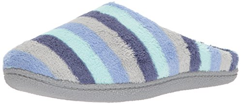 Dearfoams Women's Leslie Quilted Microfiber Terry Clog Slipper, Blue Multi, L M US