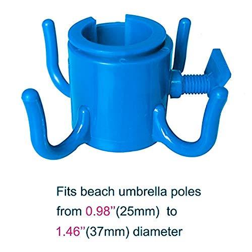 Aiohdg 4 Prongs – Soporte para sombrilla de playa, adecuado para jardín, playa, ajustable, gancho para sombrilla de playa Easy Install