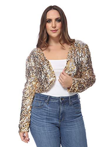 ANNA-KACI Damen Zwei Seiten Pailletten Langarm Kurz Große Größen Gold Jacke Blazer Bolero