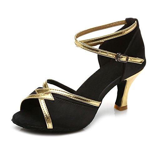 SWDZM Mujer Zapatos de baile/estándar de Zapatos de baile latino Satén Ballroom modelo-ES-225 Negro 36.5 EU