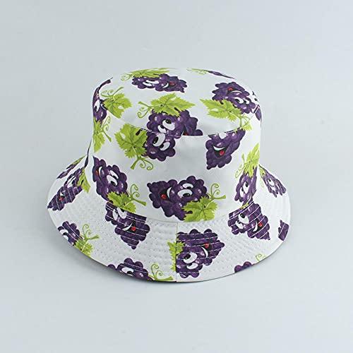 Bucket Hat Hut Damen Herren Panama Eimer Hut Männer Frauen Angelkappe Banane Traube Erdbeer Print Sonnenschutz Hut Hip Hop Fischer Hut-White_Grape
