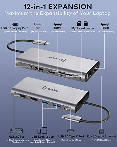 Docking Station,USB C Hub,UtechSmart Triple Display 12 in 1 USB C Adapter mit 2 HDMI, DisplayPort,Typ C PD,4 USB Ports,Gigablit Ethernet,SD/TF Kartenleser Kompatibel MacBook Pro und Mehr Typ C Geräte