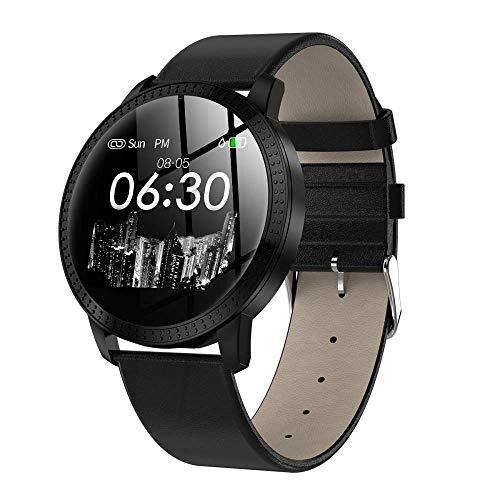 Smartwatch für Damen, Bluetooth-Smartwatch, Fitness-Tracker mit Herzfrequenz, Aktivitätstracker, Herzfrequenzmesser, Schrittzähler und physiologische Funktion, wasserdicht kompatibel, Damen, Schwarz