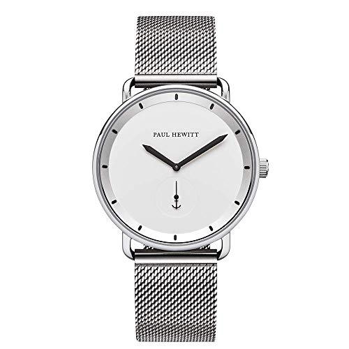 PAUL HEWITT Armbanduhr Männer Edelstahl Breakwater White - Silberne Herren Uhr mit Mesharmband (Silber) und weißem Ziffernblatt