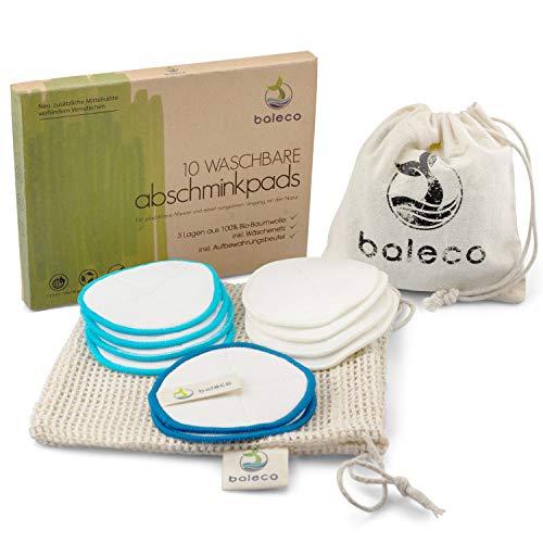 baleco Abschminkpads wiederverwendbar   100% bambusfrei   3 Lagen weiche Bio-Baumwolle   10 Stück   waschbar bis 60°   inkl Aufbewahrungs- & Wäschebeutel   extra Mittelnaht für einfache Anwendung