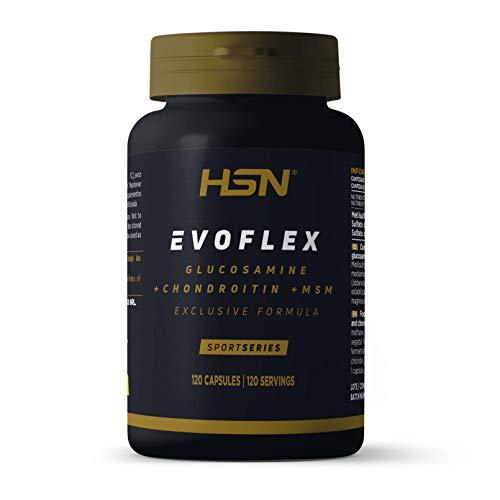 Evoflex de HSN | Glucosamina + Condroitina + MSM | Suplemento para las Articulaciones, Antiinflamatorio Natural | Sin Pescado, Sin Gluten, Sin Lactosa | 120 Cápsulas