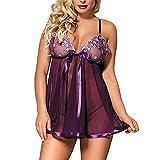Vestido Sexy para la Noche de Sexo Mujeres Bordados Camisones a través de la lencería Porno sin Mangas Nightgown Plus Lace Nightwear-Lila_Metro