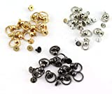 RuiLing 30pcs 8x6mm Screwback Round Head Rivet with Pull Ring 3 Color Assrted Kit Metal Handmade DIY Accessory Nail Heads Stud Leather Craft Screw Rivets (Silver, Black, Gold)