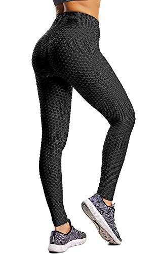 HUBORLOVES Butt Lifting Leggings for Women High Waist Anti Cellulite Yoga Pants Textured Ruched Workout Fitness Tummy Control Stretchy Bubble Tights