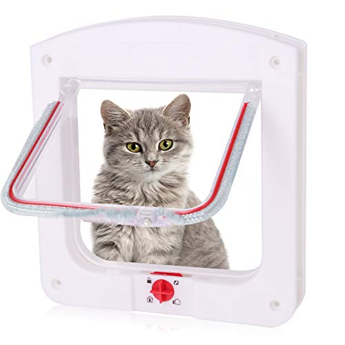 metagio Katzenklappe, Katzen- / Hundeklappe mit Tunnel, Haustierklappe für Katzen, kleine Hunde und kleine Haustiere(Weiß)