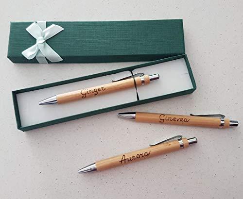 Penna Personalizzata a Sfera Legno Bambu' con Incisione Nome Regalo Particolare con Scatola