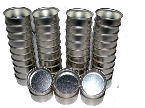 Naturdeko24 Teelichthalter Silber/Metall | Teelichttüllen | Teelicht Tülle für Standard Teelichter 40mm | Metall/Silber | (50er Set)