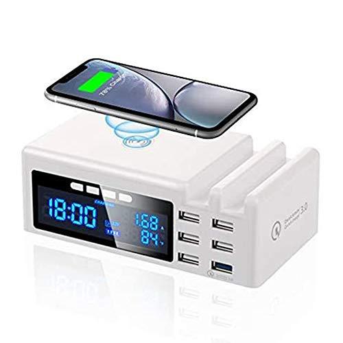 AFKK Reloj Despertador, Altavoz Bluetooth Carga inalámbrica, Pantalla Dual Dimmable LED Pantalla para iPhone Tableta de teléfono móvil Android,Blanco