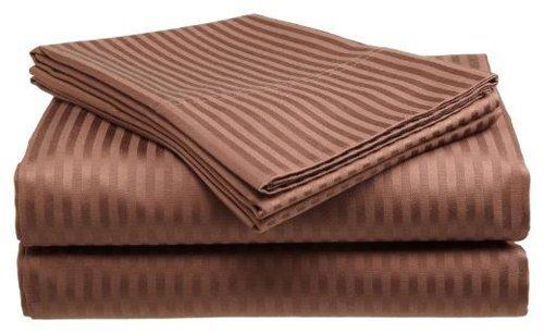 Crystal Trading 4-Piece Bed Sheet Set - Dobby Stripe - Microfiber - (King, Coffee)