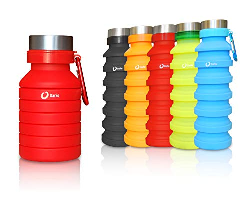 Botella de silicona plegable, 550 ml con gancho, ecológico, sin BPA, hermético, senderismo, camping, correr, senderismo, a prueba de golpes, Rojo