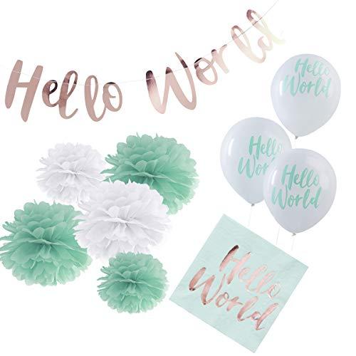 in due 36-TLG. Partyset 'Hello World' Geburt Babyparty Baby Junge Mädchen Mint - Deko Set Girlande, Pompoms, Luftballons & Servietten