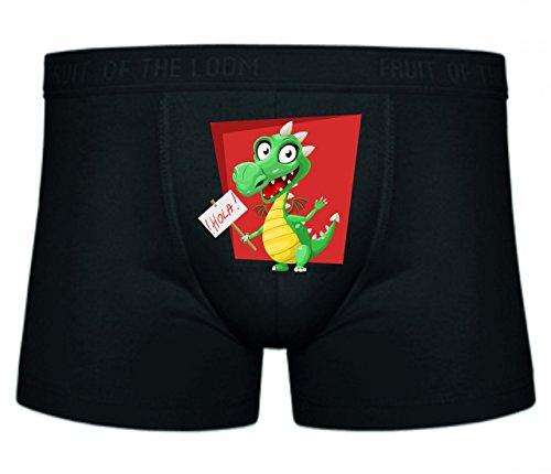 Druckerlebnis24 Boxershort Drache- GRÜN- Hallo- ANMELDEN- SPANISCH- REPTIL- NIEDLICH- WILLKOMMEN- LÄCHELND- BEZAUBERND- GUT- FLÜGEL S- XXL Sexy Unterhose Slip Shorts