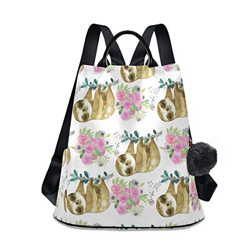 The Sloth Flower Is Lovely Pink Mochila impermeable para mujer, antirrobo, mochila clásica de viaje, bolsa de hombro