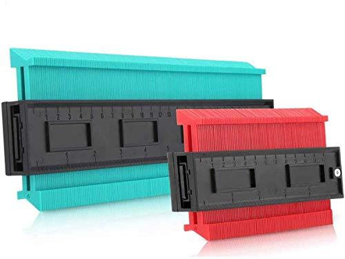 BZCTAH Wider Version 型取りゲージ コンターゲージ 130mm/260mm 測定ゲージ 曲線定規 測定工具 DIY用 輪郭ゲージ 不規則な測定器 目盛付き高精度 ABS樹脂製 (レッド/グリーン)