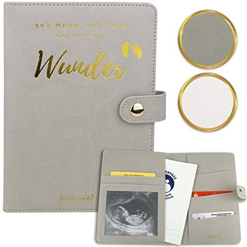 MAHEWA® Premium Mutterpasshülle aus Leder mit Fach für Ultraschallbilder - Mutter-Kind-Pass Schutzhülle, Mutterpass-Tasche und Mutterpass-Organizer - Geschenk zur Schwangerschaft Grau-Gold WUNDER